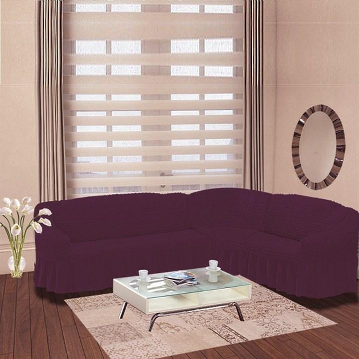 VIOLET Чехол на классический угловой диван от 350 до 470 см правосторонний фиолетовый - фото 10932