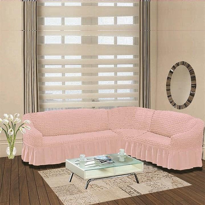 ROSE Чехол на классический угловой диван от 350 до 470 см правосторонний розовый - фото 10937