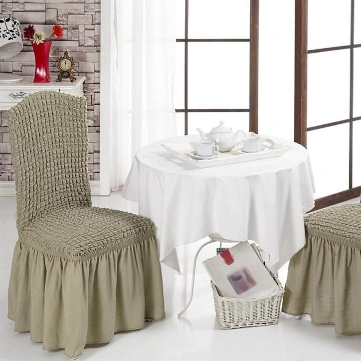 BEIGE Чехлы на стулья со спинкой (2 шт.) бежевые - фото 10985