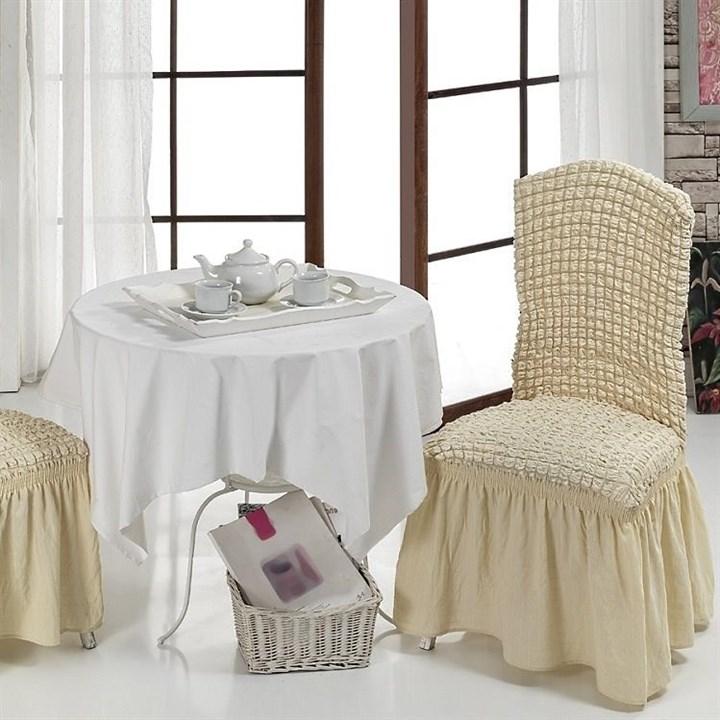 NATURAL Чехлы на стулья со спинкой (2 шт.) сливочные - фото 10986