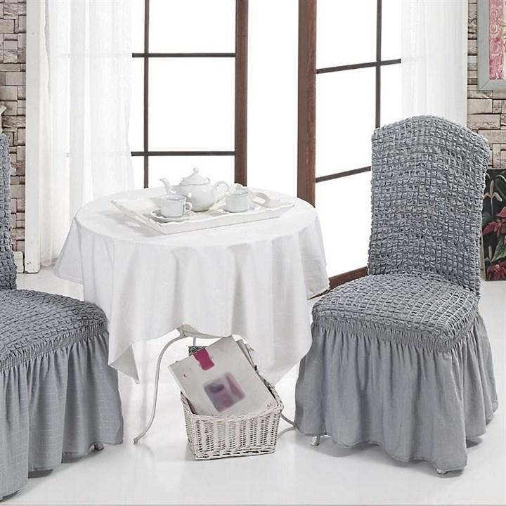 GREY Чехлы на стулья со спинкой (2 шт.) серые - фото 10992