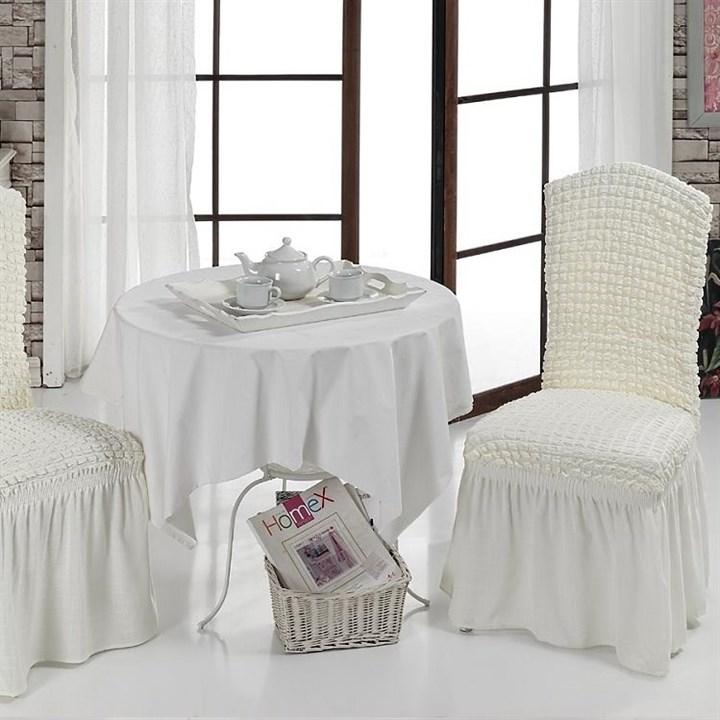 CREAM Чехлы на стулья со спинкой (2 шт.) молочные - фото 10995