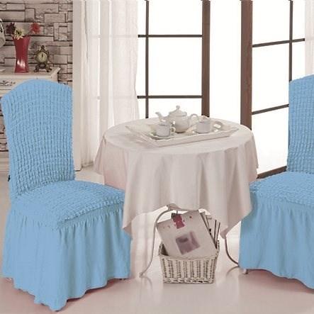 BLUE Чехлы на стулья со спинкой (2 шт.) голубые - фото 11000
