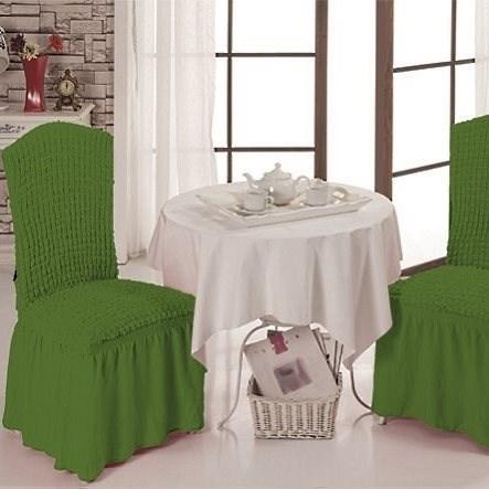 GREEN Чехлы на стулья со спинкой (2 шт.) зеленые - фото 11001