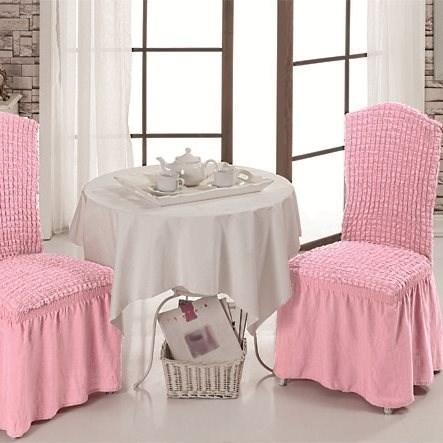 ROSE Чехлы на стулья со спинкой (2 шт.) розовые - фото 11003