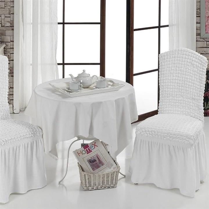 WHITE Чехлы на стулья со спинкой (2 шт.) белые - фото 11004
