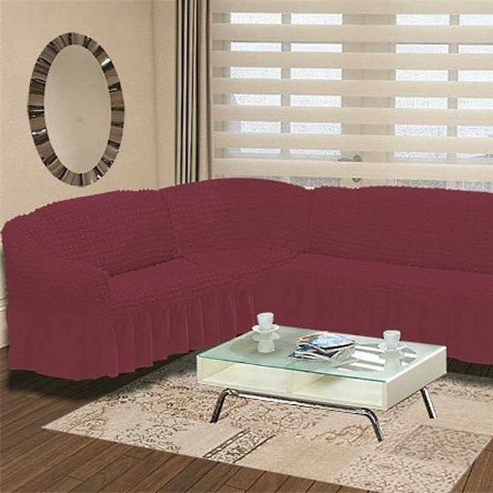 FUCHSIA Чехол на классический угловой диван от 350 до 470 см левосторонний бургундский - фото 11005