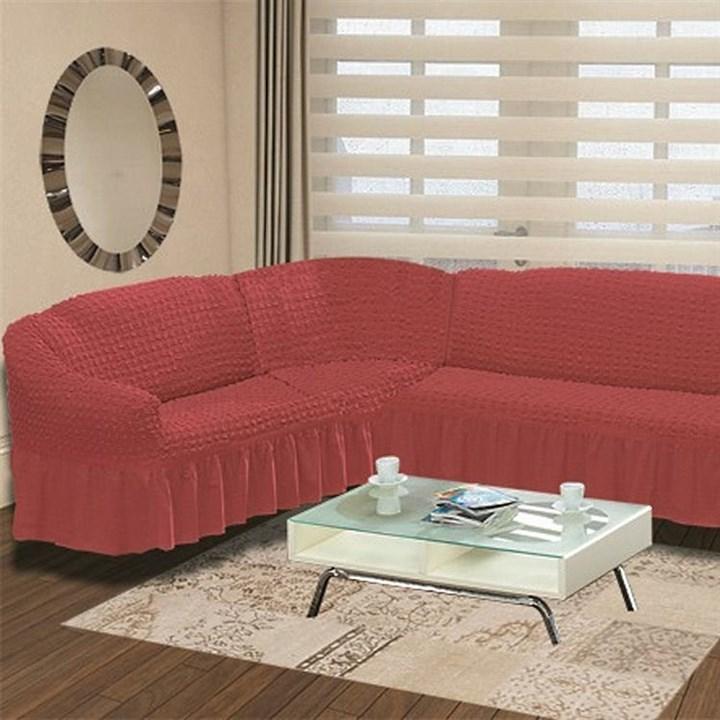 DARK ROSE Чехол на классический угловой диван от 350 до 470 см левосторонний кораллово-розовый - фото 11009