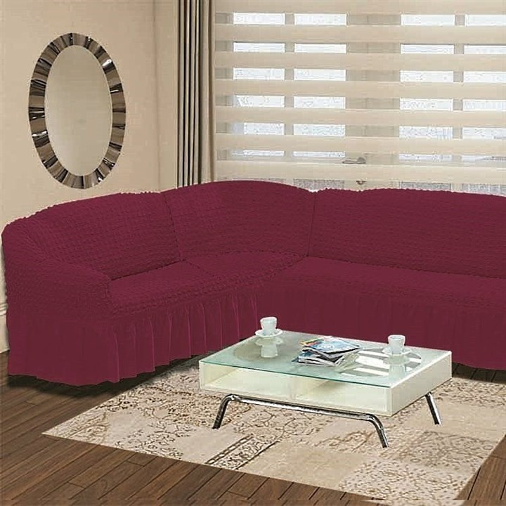 BRIGHT LAVENDER Чехол на классический угловой диван от 350 до 470 см левосторонний бургундский - фото 11010