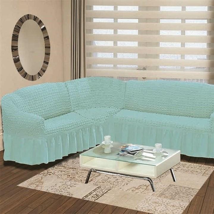 BLUE Чехол на классический угловой диван от 350 до 470 см левосторонний голубой - фото 11014