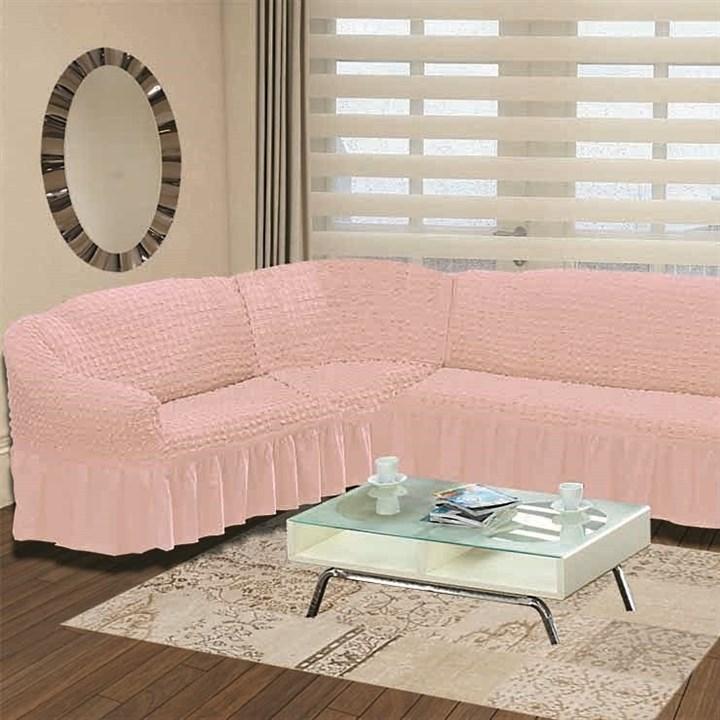 ROSE Чехол на классический угловой диван от 350 до 470 см левосторонний розовый - фото 11018