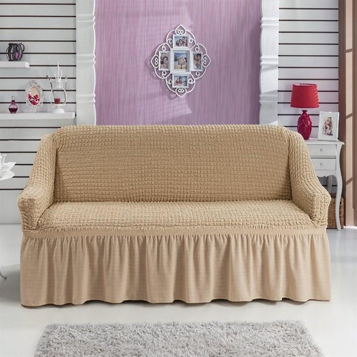 BEIGE Чехол на 2-х местный диван от 120 до 170 см бежевый - фото 11022