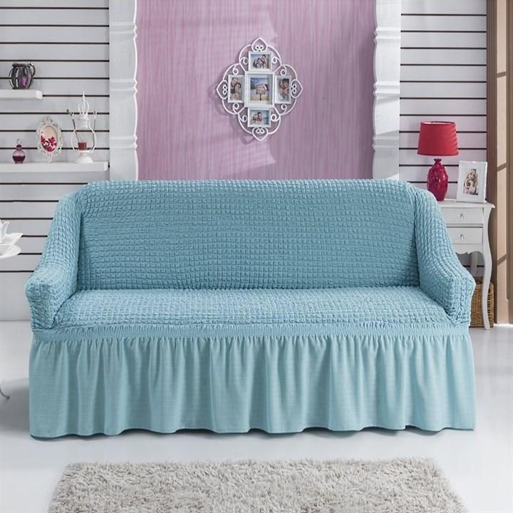 BLUE Чехол на 2-х местный диван от 120 до 170 см голубой - фото 11026