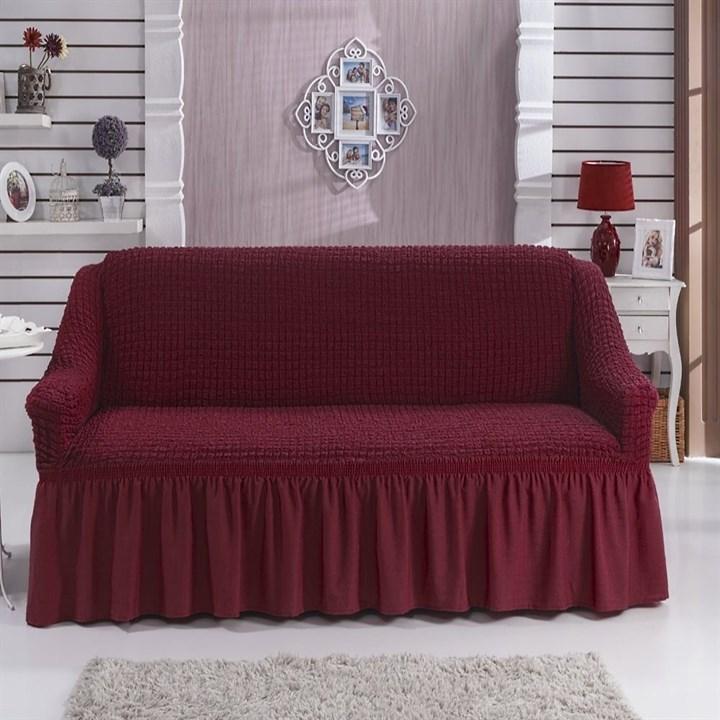 BORDO Чехол на 2-х местный диван от 120 до 170 см бордовый - фото 11030