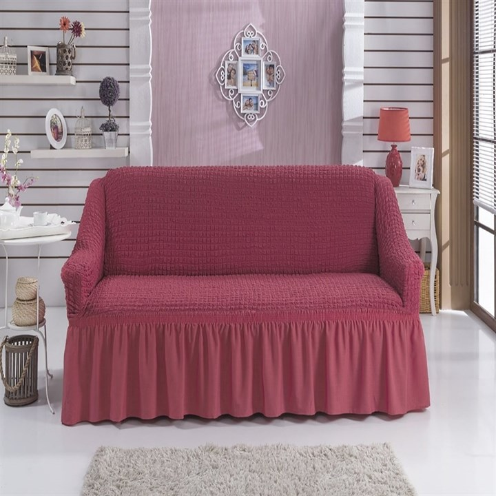 DARK ROSE Чехол на 2-х местный диван от 120 до 170 см кораллово-розовый - фото 11038