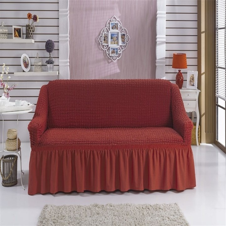 TERRACOTA Чехол на 2-х местный диван от 120 до 170 см кирпичный - фото 11046