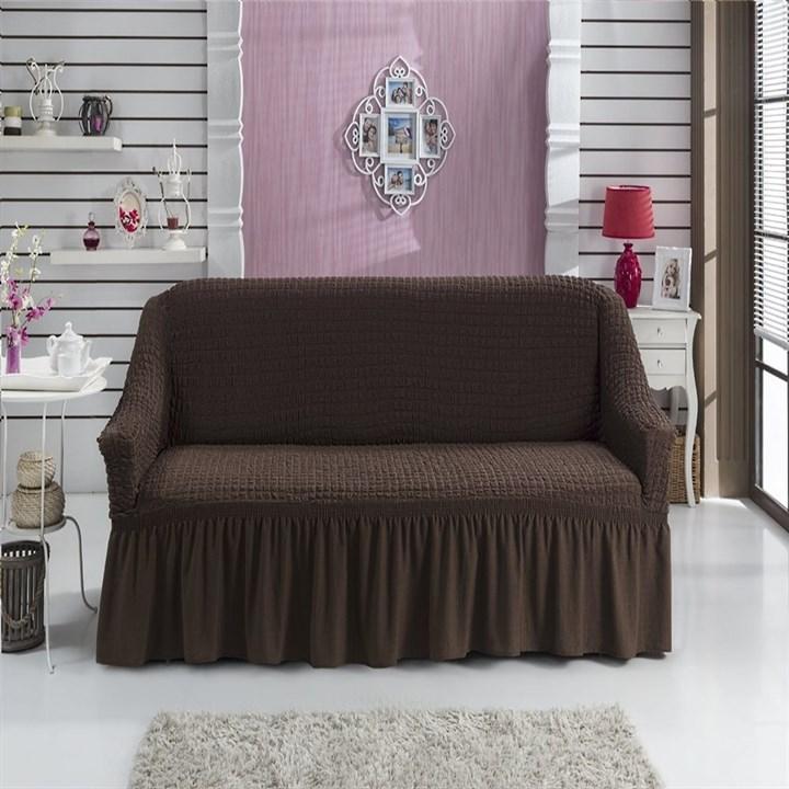 BRAUN Чехол на 2-х местный диван от 120 до 170 см коричневый - фото 11050