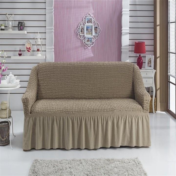 COFFEE Чехол на 2-х местный диван от 120 до 170 см капуччино - фото 11054