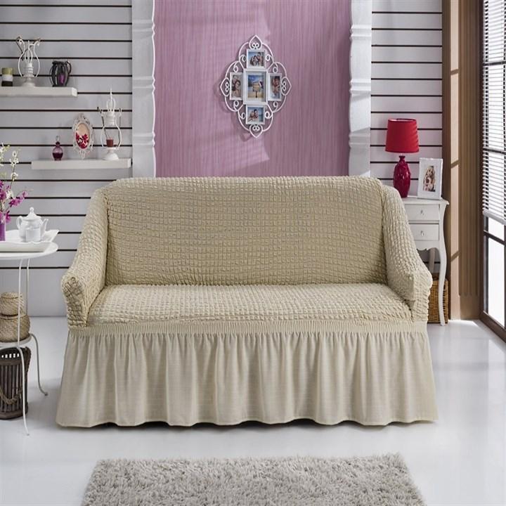 NATURAL Чехол на 2-х местный диван от 120 до 170 см сливочный - фото 11058