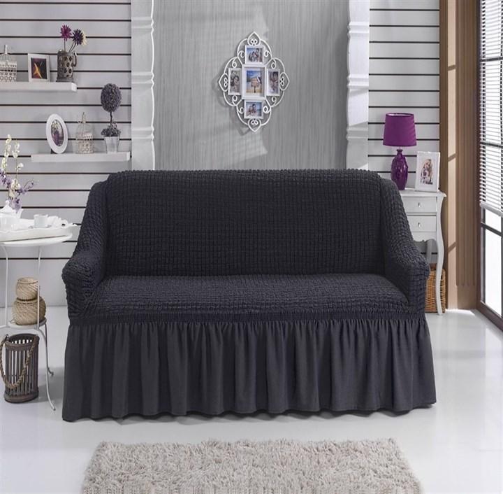 DARK GREY Чехол на 2-х местный диван от 120 до 170 см графитовый - фото 11079
