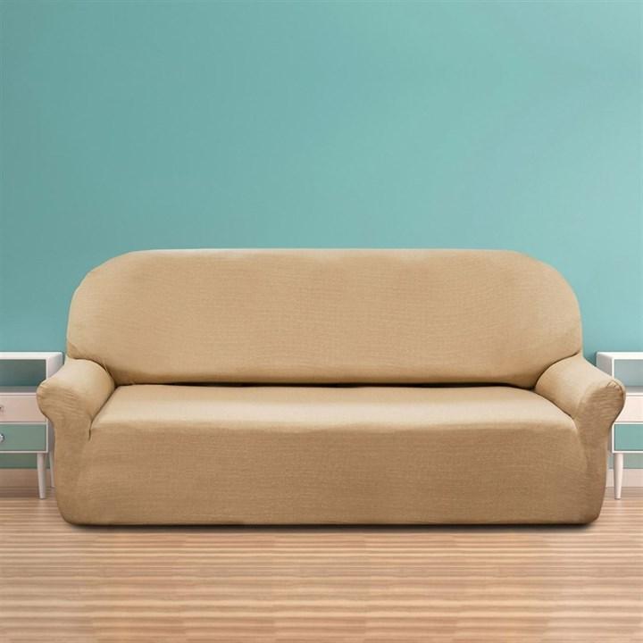 НАТУРЕ БЕЖ Чехол на 4-х местный диван от 230 до 270 см - фото 11774