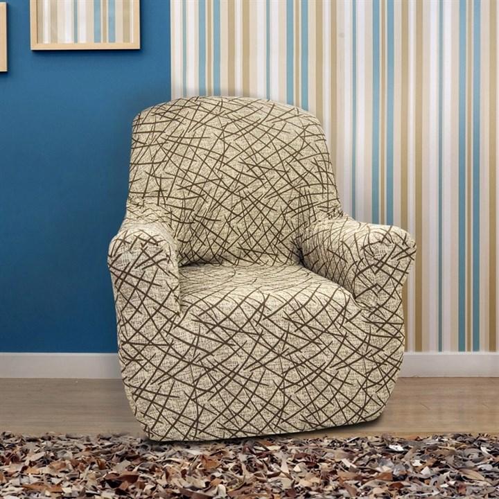 ГРЕЦИЯ БЕЖ Чехол на кресло от 70 до 110 см - фото 11834