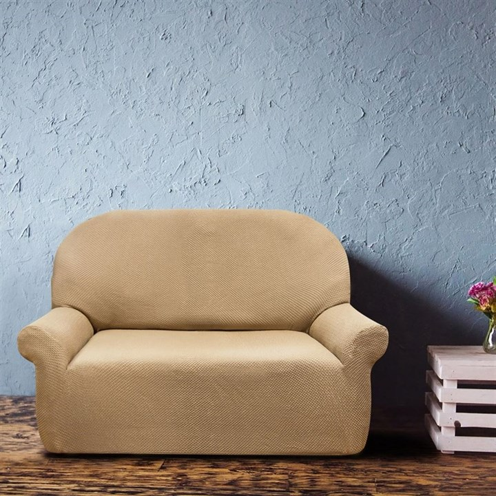 АЛЯСКА БЕЖ Чехол на 2-х местный диван от 120 до 170 см - фото 11918