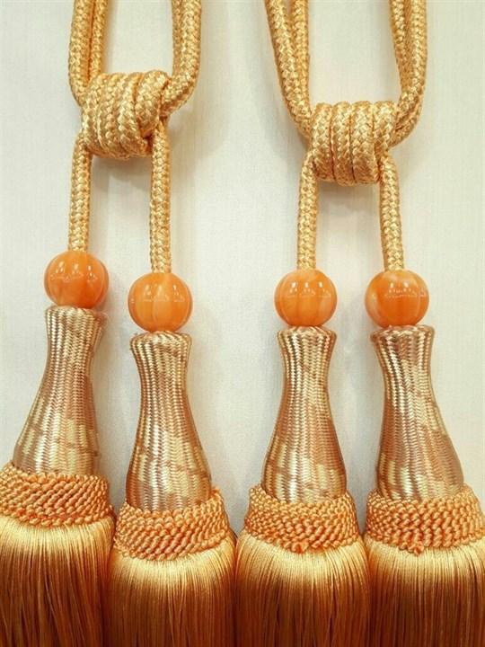 Кисти для штор персиковые 32 см - фото 12558