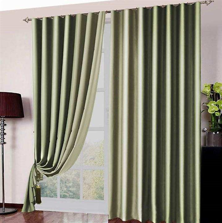 Готовые шторы Блэкаут Амалия оливково-зеленые - фото 12646