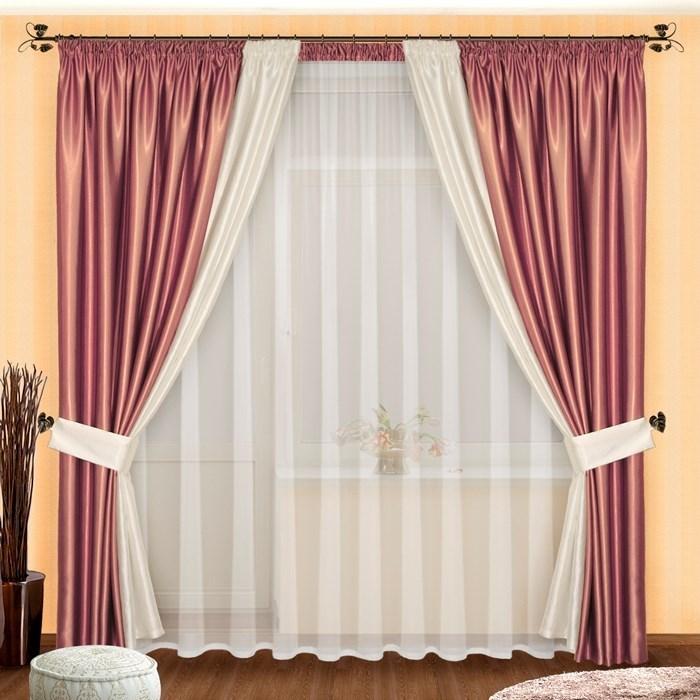 Готовые шторы с вуалью Лоретта сирень
