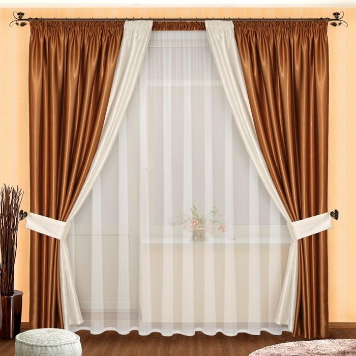 Готовые шторы с вуалью Лоретта шоколад - фото 12662