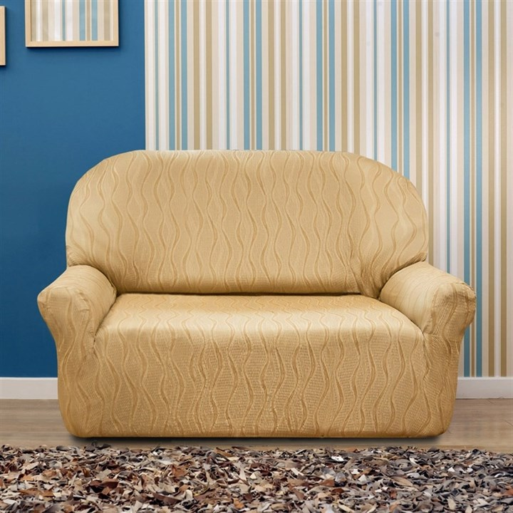 ТОСКАНА БЕЖ Чехол на 2-х местный диван от 120 до 170 см - фото 12721