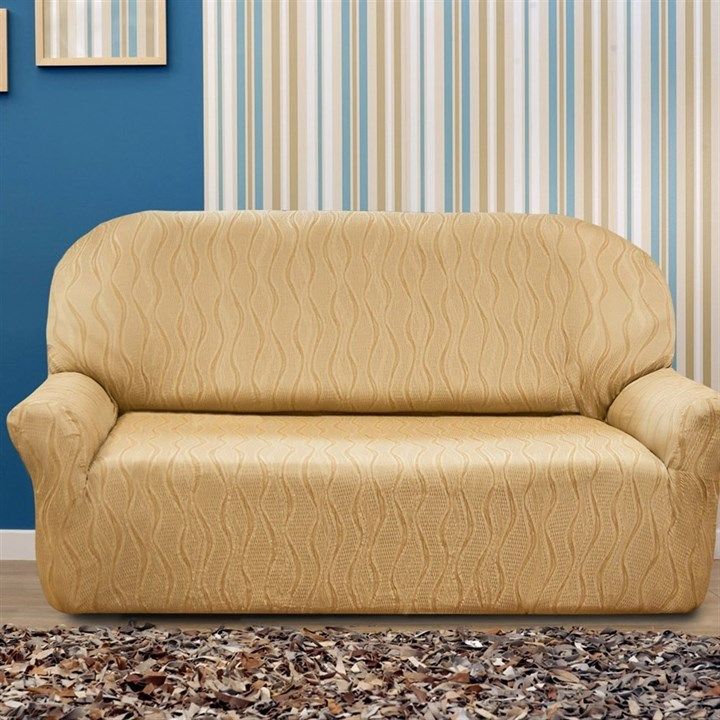 ТОСКАНА БЕЖ Чехол на 3-х местный диван от 170 до 230 см - фото 12726