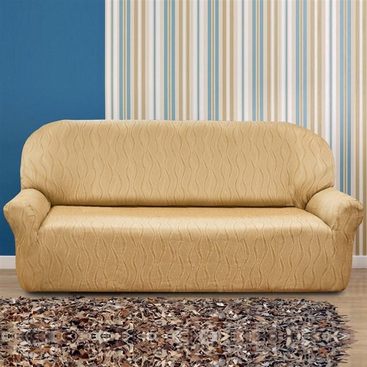ТОСКАНА БЕЖ Чехол на 4-х местный диван от 230 до 270 см - фото 12732
