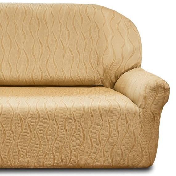 ТОСКАНА БЕЖ Чехол на классический угловой диван от 370 до 480 см универсальный - фото 12742
