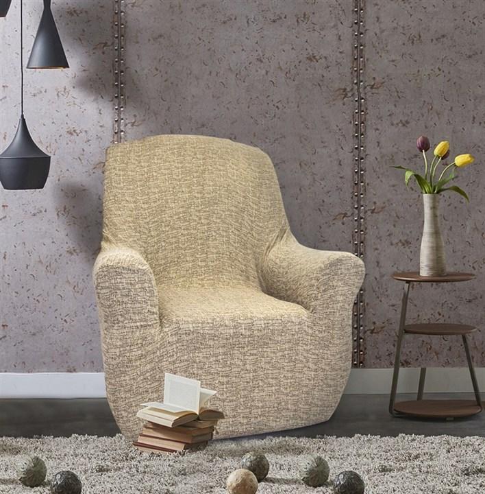 МАЛЬТА БЕЖ Чехол на кресло от 70 до 110 см - фото 12755