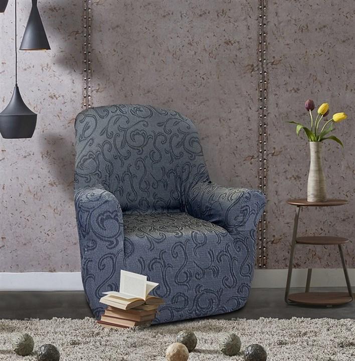 БОСТОН ГРИС Чехол на кресло от 70 до 110 см - фото 12823