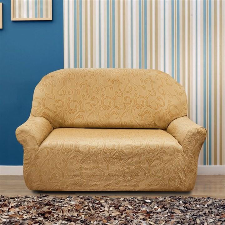 БОСТОН БЕЖ Чехол на 2-х местный диван от 120 до 170 см - фото 12826