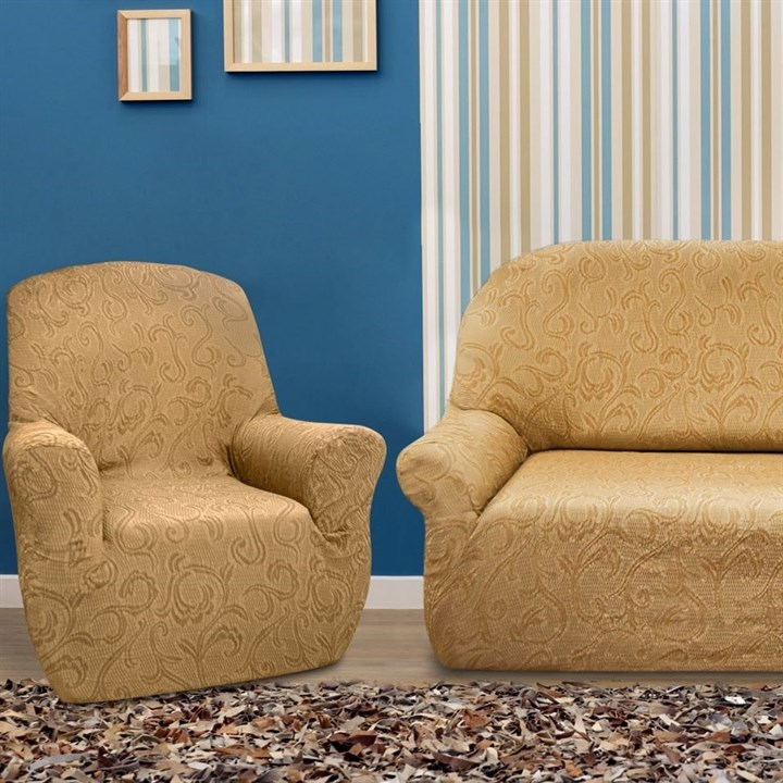 БОСТОН БЕЖ Комплект чехлов на диван и 2 кресла - фото 12851