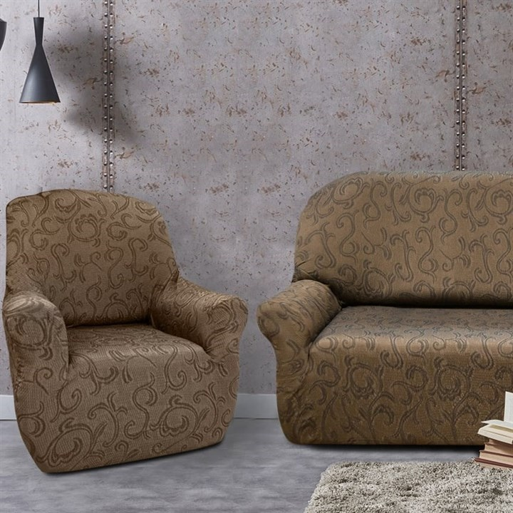 БОСТОН МАРОН Комплект чехлов на диван и 2 кресла - фото 12854