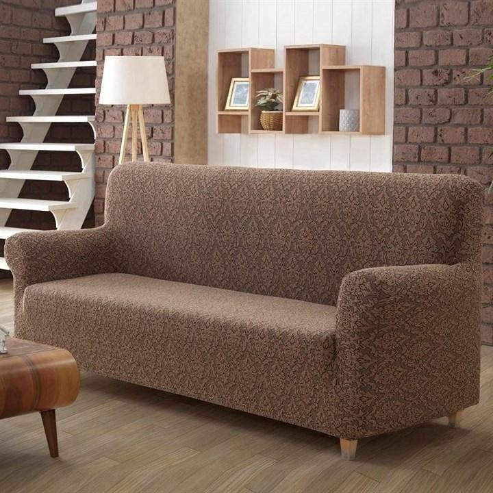 Европейский чехол на 3-х местный диван коричневый жаккард