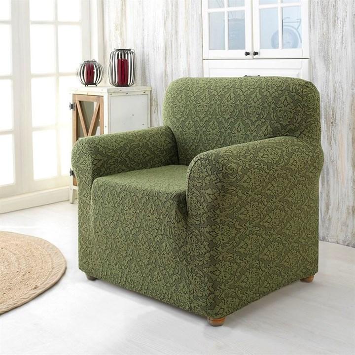 Натяжной чехол Milano Green для кресла зеленый