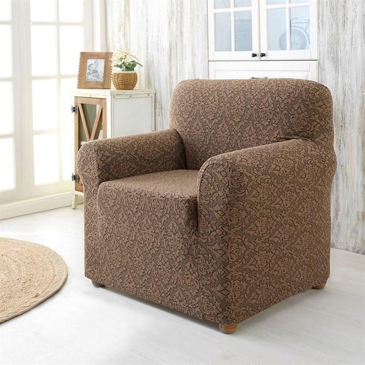 Натяжной чехол Milano Braun для кресла коричневый