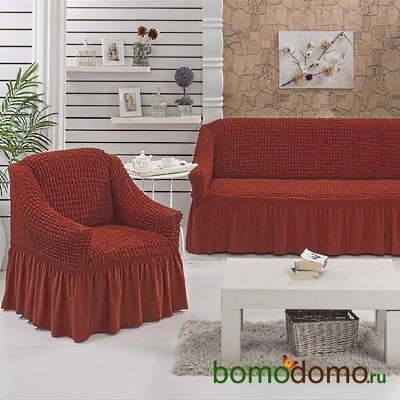 TERRACOTA Набор чехлов на диван и 2 кресла кирпичный - фото 13614