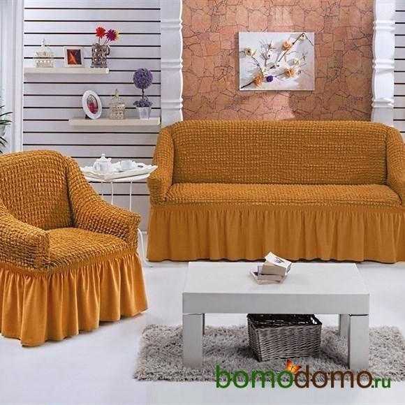 MUSTARD Набор чехлов на диван и 2 кресла горчичный - фото 13615