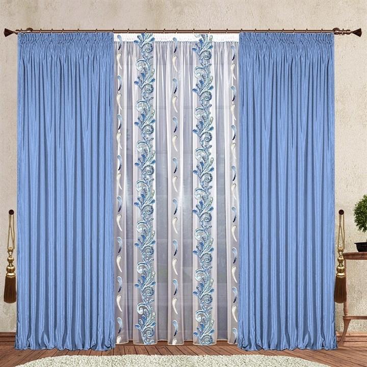 Готовые шторы с органзой Жюстина голубые