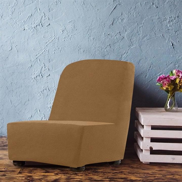 АЛЯСКА БЕЖ Чехол на кресло без подлокотников от 70 до 110 см - фото 13953