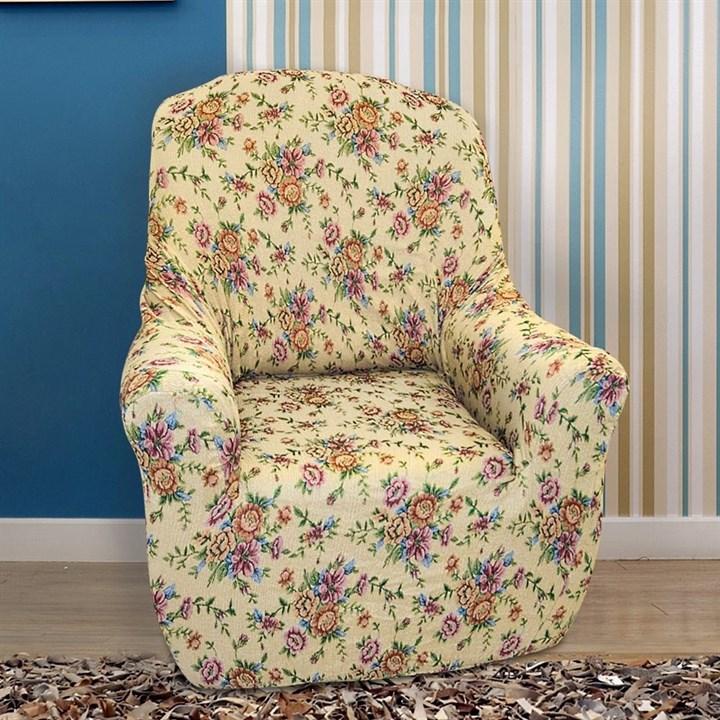 КРЕТОНА БЕЖ Чехол на кресло от 70 до 110 см - фото 13986