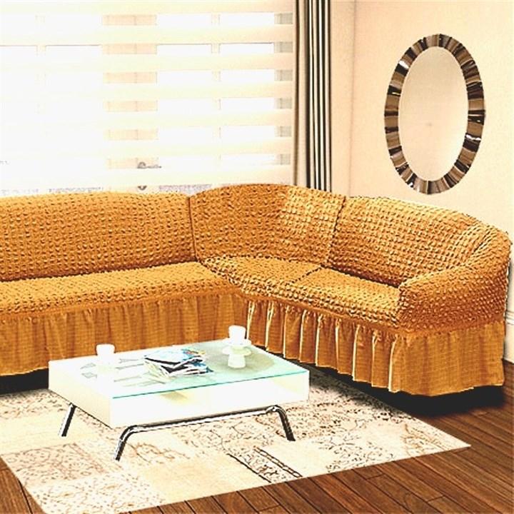 MUSTARD Чехол на классический угловой диван от 350 до 470 см правосторонний горчичный
