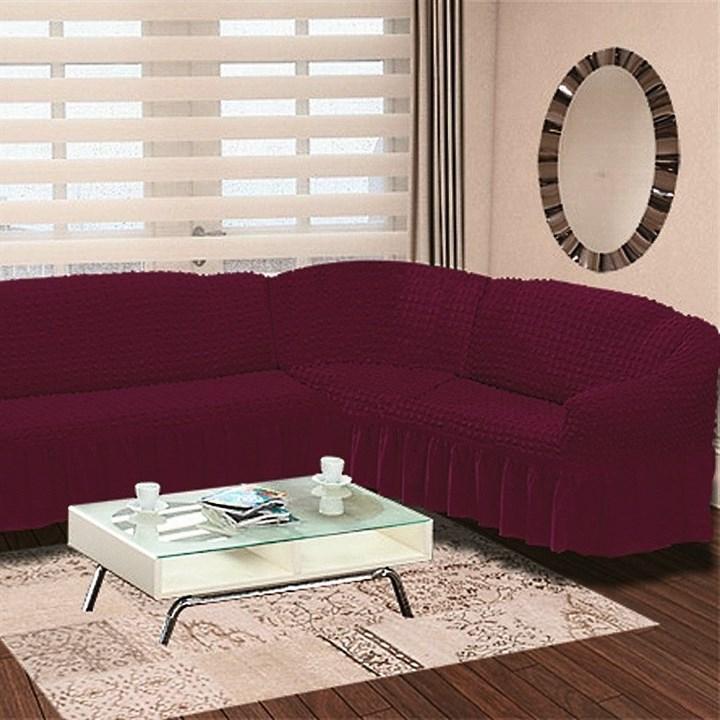 FUCHSIA Чехол на классический угловой диван от 350 до 470 см правосторонний бургундский - фото 15548